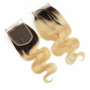 "14"" Body wave  Free Part 4x4"""" Silk Base Human Hair Lace Top Closure 1b/613#"