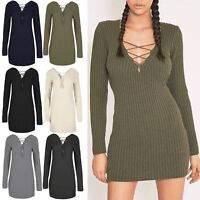 Womens Ladies Ribbed Knit Front Back Eyelet Lace Up V Neck Mini Jumper Dress Top