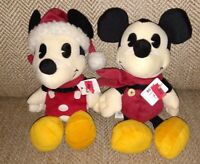 "Disney Minnie Mousen Mickey Mouse Plush Pie Eyed Christmas Vintage 9"" NEW w/Tags"