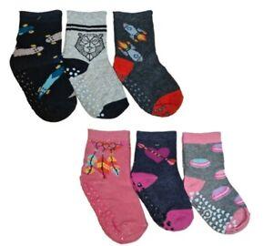 Toddler Children Kids Girls Boys ABS Non Slip Anti Slip Cotton Socks 3 pairs