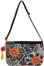 Laurel Burch White on Black Floral M/L CrossBody Tote Bag New