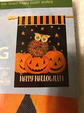 "Breezeart Happy Halloween Owl Pumpkin  LARGE HOUSE GARDEN FLAG 28 x 40"""