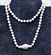"Vintage Signed JOAN RIVERS Silvertone Faux Pearls 29"" Necklace Magnetic Clasp"