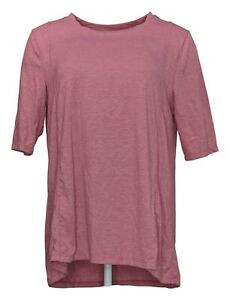 Cuddl Duds Women's Top Sz M Brushed Knit Elbow Sleeve Tee Pink A381699