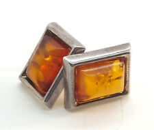 Fine Rectangle Poland Amber Clip On Sterling Silver 925 Earrings 6g E2041