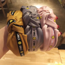 Fashion Smiley Face Fabric Hairband Hoop Knotted Headband Women Hair Accessories