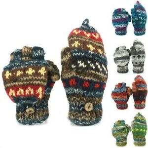 Wool Gloves Mittens Fingerless Fleece Lined ABSTRACT Knit Shooting Handmade