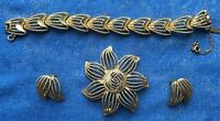 4 Piece Vintage Monet Gold Pin / Brooch, Earrings and Bracelet Jewelry Set