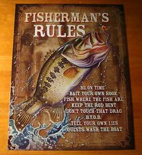 FISHERMAN RULES Rustic Fishermen Cabin Fishing Lodge Home Decor Sign - NEW