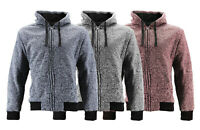 Men's Soft Heathered Sherpa Lined Casual Salt and Pepper Hoodie Zip Up Jacket