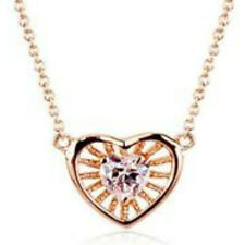 """Fine rose gold finish clear heart pendant 18"""" 45cm necklace quality jewellery uk"""