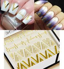 1 Stk Gold V Muster 3D Nagelsticker Nail Art Sticker