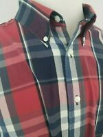 Roundtree & Yorke Red Blue White Plaid Long Sleeve Button Front Shirt XXL