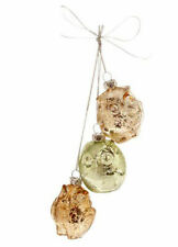 Christmas Ornament Glass Owl Cluster Raz Imports Green Copper Gold Antiqued