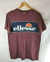 ELLESSE Mens T-Shirt Top Small Blue Cotton Burgundy Logo Tee