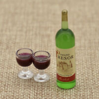 Dollhouse Mini Liquor Bottle 2pcs Wine Cup Miniature Model DIY Ornaments