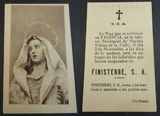 RECORDATORIO MISA ASEGURADOS FINISTERRE SA HOLY CARD ANDACHTSBILD SANTINI CC2076
