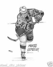 PENGUINS: LEMIEUX #66 Org Hand Drawn Derived Sports HQ Art Print (NF)