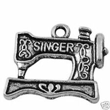 10 Tibetan Silver Sewing Machine Pendant Charms
