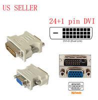 DVI-D DVI Male To VGA SVGA 15pin Video Adapter Converter US