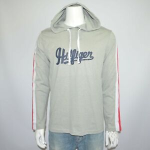NWT TOMMY HILFIGER Lightweight Knit Gray Cotton Blend Pullover Hoodie Sz XL