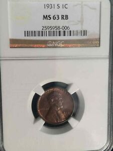 1931S NGC GRADED MS63RB LINCOLN WHEAT CENT KEY DATE HARD TO FIND KEY DATE CENT