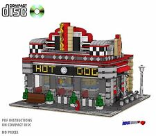 CD Hot Dog Diner Modular, Lego Custom Instructions cafe, city minifigure #45