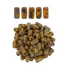 50 CzechMates Bricks Sunflower Yellow Picasso Two Hole Beads 3x6mm