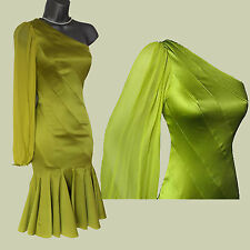 KAREN MILLEN Lime Silk Satin One Shoulder Classy Rare Formal Dress 12 EU 40 £160