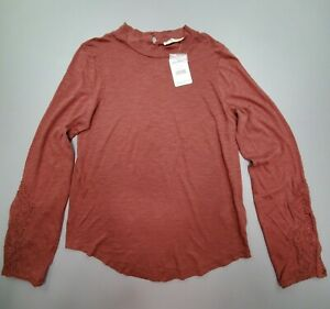 NEW Free People Embroidered Cuff Top Shirt Burgundy Red Size L $98