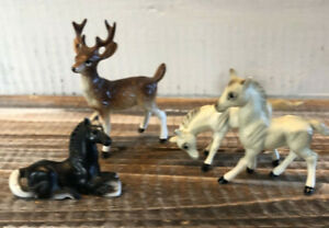 Lot 4 Vintage Bone China Miniature Horse & Deer Buck Figurines Animals Japan