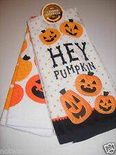 2 Pk Happy Halloween Midnight Market Kitchen Dish Towels Pumpkins Damaged NWT