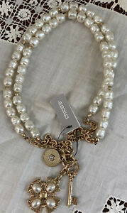 NWT CHICO'S Elegant Pearl & Gold Tone Cross Pearls Key Charms Necklace Metallic