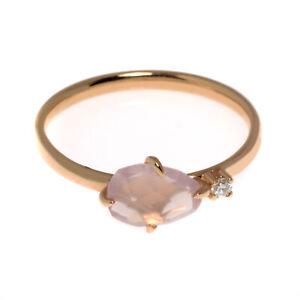Mimi Milano Mila 18k Rose Gold Diamond 0.04ct And Quartz Ring Sz 7 A574R8QB
