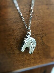 Antique Silver Horse Head Pendant Necklace with Stainless Chain 16,18, 20inch