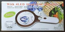 MAGNIPROS Magnifying Glass 4X Hand-held w/ High Low Lights 4 LED
