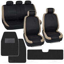 Beige on Flat Black Cloth Car Seat Covers - Solid Hefty Black Carpet Floor Mat