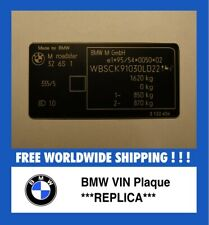 BMW VIN replica plaque Individual FIN High Quality Custom made Replacement