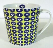 "Trish Richman 2007 -  4 "" Green - Blue - Yellow- White Print Coffee Mug  EC"