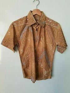 Vintage Ladies Print Pattern Shirt in Brown Cotton Abstract Mountain *6/8* TE26