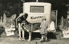 VINTAGE GERMAN SHEPERD KAPITAN SNAPSHOT CARDBOARD CONVERSE ? SHAVED HEAD PHOTO