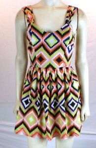 Bar III Multi Color Sleeveless Geometric Above Knee Casual Dress Juniors XS 0 1