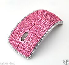Pink Crystal Rhinestone 2.4G Wireless Arc Folding Foldable Optical Mouse Mice