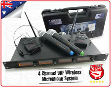 4 Channel UHF Microphone Kit 2x Wireless Headset 2x Cordless Microphone MIC98