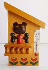 Vintage Wooden Thermometer USSR Soviet Bear at the Cabin Bar with Tulips Decor