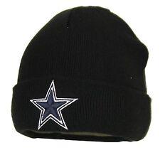 Dallas Cowboys Basic Knit Black Raised Cuffed Winter Field Beanie Sideline Hat