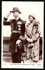 1930 DUKE AND DUCHESS OF YORK REAL PHOTO POSTCARD ROYAL NAVY UNIFORM