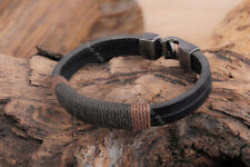 Trendy Surfer Mens Charm  Vintage Hemp Wrap Leather Band Wristband Bracelet Cuff