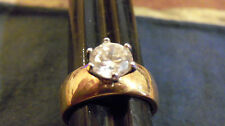 bling gold plated wedding finger cubic solitaire ring hip hop jewelry size 11