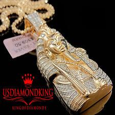 MENS REAL ROSE GOLD STERLING SILVER KING TUT PENDANT EGYPTIAN PHARAOH CHARM NEW